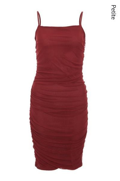Petite Berry Mesh Ruched Midi Dress